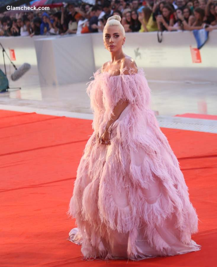 Lady Gaga in Pink Valentino Couture Dress 2018 Venice Film Festival
