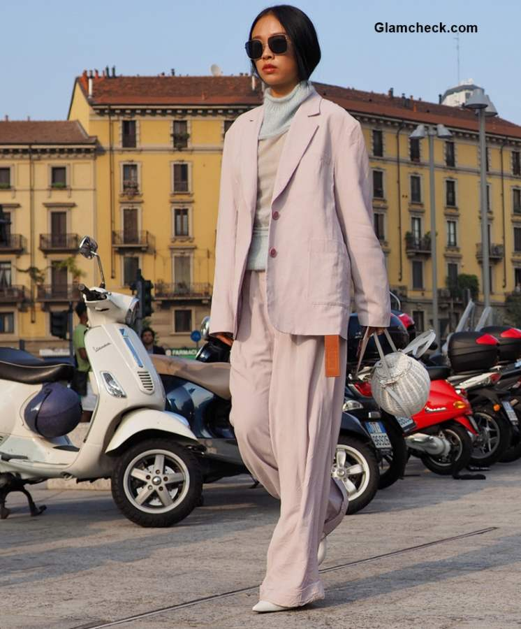 Street Style at Milan Fashion Week Fall-Winter 2018 Pastels trend