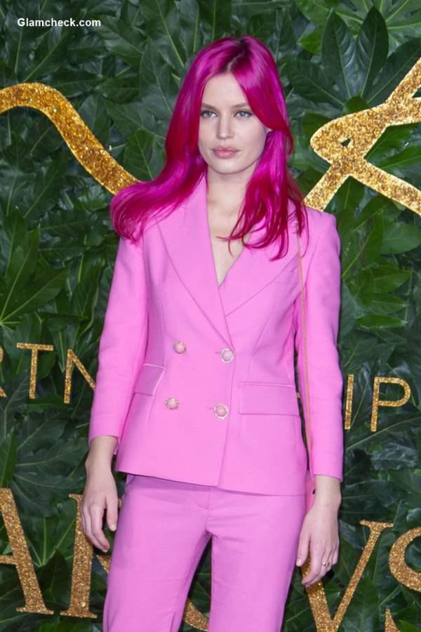 Georgia May Jagger Pink Hair Color at Bristish fashion awards 2018