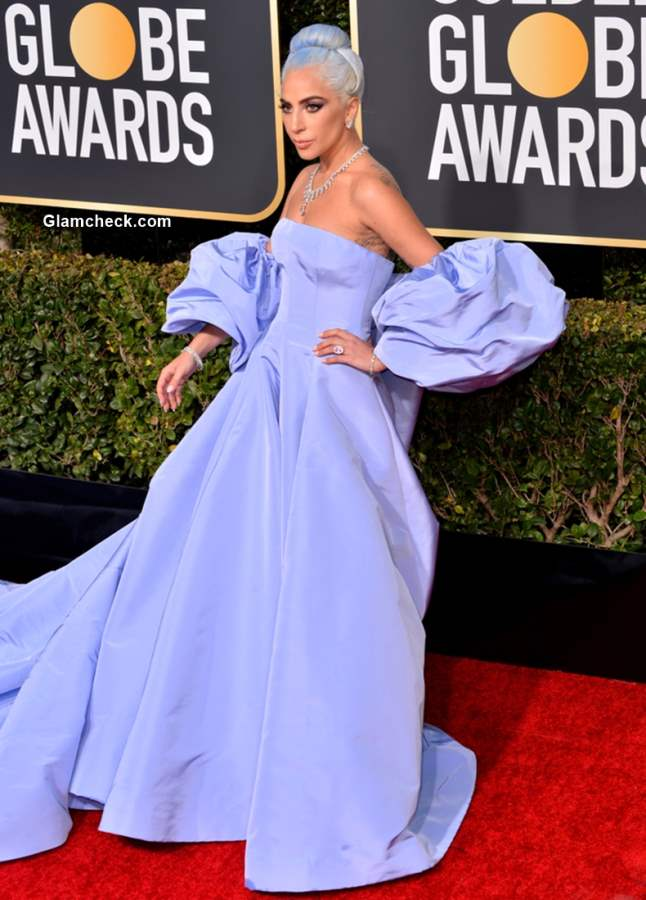 Lady Gaga Blue gown at 2019 Golden Globe Awards