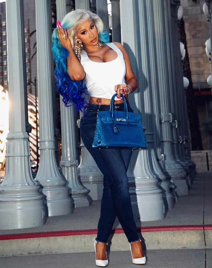 Cardi B Gradient blue hair color 2021