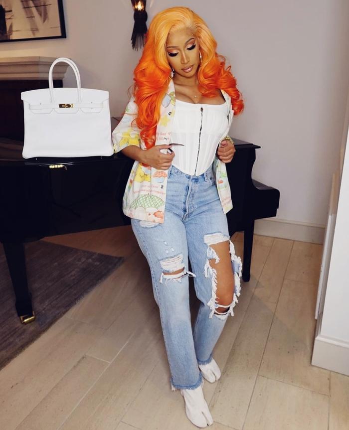 Cardi B hair color 2021 orange