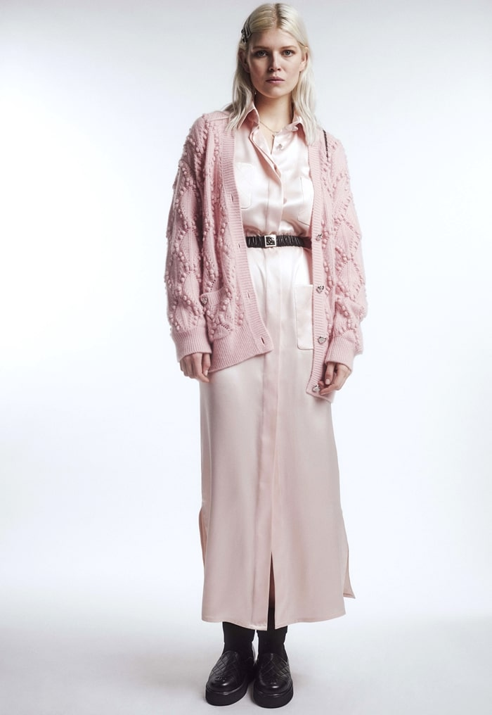 Chanel Fall-Winter 2021-22 collection Ola Rudnicka in shirt dress and cardigan