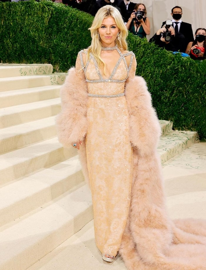 MET Gala 2021 Red Carpet Looks  Sienna Miller in Gucci Shimmer Gown