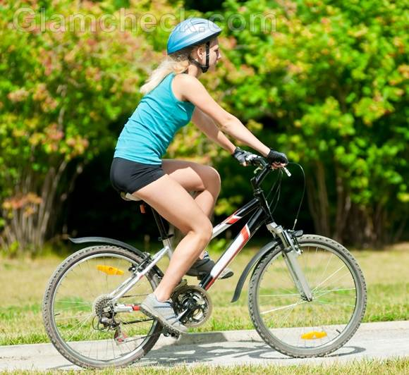 woman cycling workout