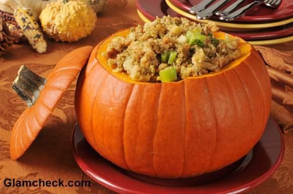 Turkey and celery stuffing in a pumpkin